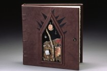 """""""Freedom"""" Hanbound leather book 11 x 16 x 6""""--Paper, leather, metal, found objects, wood--$575"""