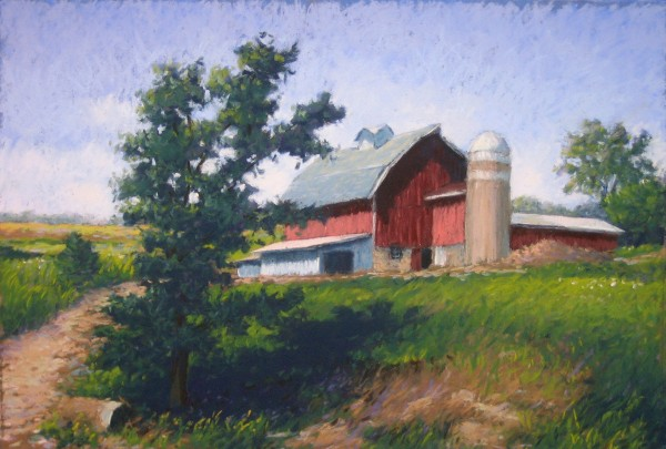 In her spare time, Case paints landscapes, such as this one of an Amish farm in Cashton, Wisc.