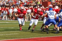Junior defensive lineman Danny Samson against the University of Dubuque Sept. 29, 2012.