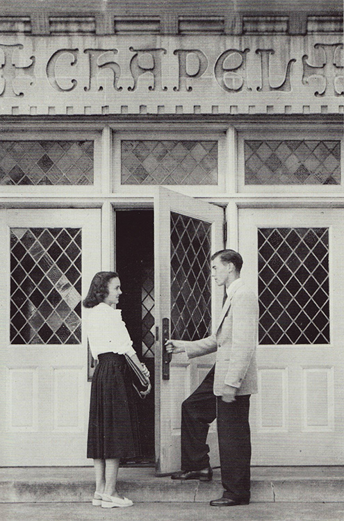 Good manners were a constant practice on campus in the 1940s.