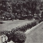 The class of 1949 marched across campus to the graduation ceremony