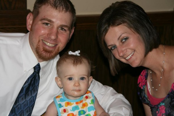 Breadon with his wife Tara and daughter Mia.