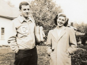 Joy and future husband Ed on a walk in 1946