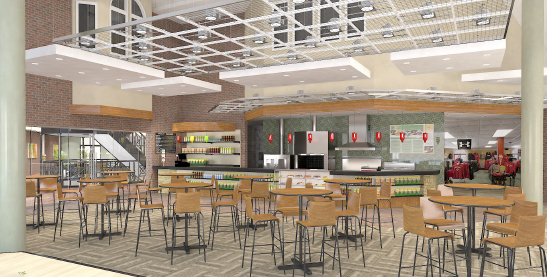The present snack bar will be replaced with a larger, inviting space with a coffee shop ambience.