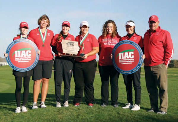 Central rallied from 19 shots down to claim its first Iowa Conference women's golf crown since 1990. Pictured are Emily Opsal, Brittany Coppess, Alison Kretzinger, Molly Timmerman, Lexie Patton, Cierra Pulse, coach Tim Wilkinson.