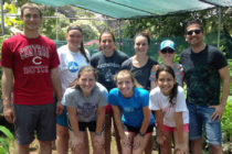 Seven students traveled to Costa Rica as part of Central's newest research program. Back row: Ryan Kruse '18, Macin Harvey '19, Caitlyn Champ '19, Huma Liptak '17, assistant professor of exercise science Sara Shuger Fox, lecturer of Spanish Oscar Reynaga. Front row: Lauren Vahlcamp '19, Lauren Moll '20 and a local student.