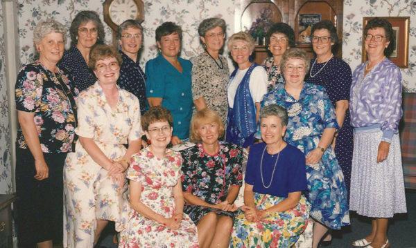 Row 3: Doris, Jan, Elaine, Vera, Lori, Dolores, Marlys, Darlene, Nella. Row 2: Carolin, Peggy. Row 1: Arlys, Leone, Ruth.