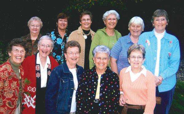 Row 1: Marlys, Elaine, Nella, Ruth, Arlys. Row 2: Peggy, Vera, Darlene, Lori, Doris, Jan.