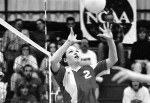 Volleyball setter Angie Nielsen Sears '02