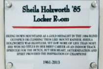 Plaque recognizing Sheila Holzworth's support of the newly expanded P.H. Kuyper Gymnasium.