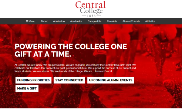 Screenshot of the redesigned Alumni website