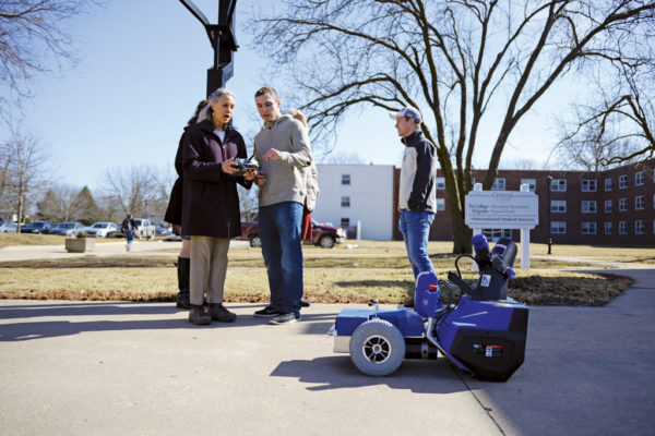 Cory McCleary '18 and Jacob Challen '18 demonstrate their robotic snow blower.