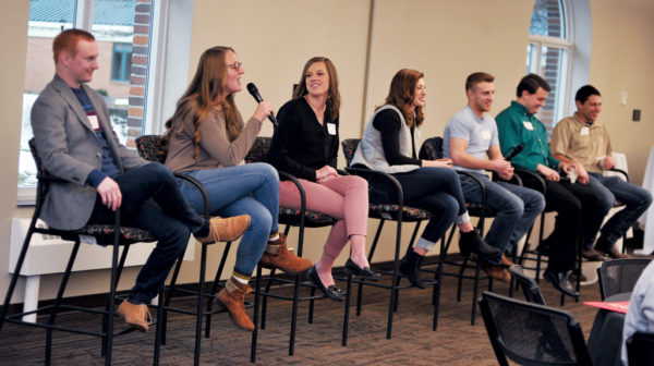 Recent Central graduates formed an alumni panel that discussed life after Central. The panel addressed job searching, living independently, financial realities and the first few months on the job. Pictured (L – R): Mitchell Phipps '17, Jessica Butters '17, Beth Dillon '17, Katie Douglas '17, Aaron Anderson '16, Evan Fischer '16 and Collin Strickland '17.