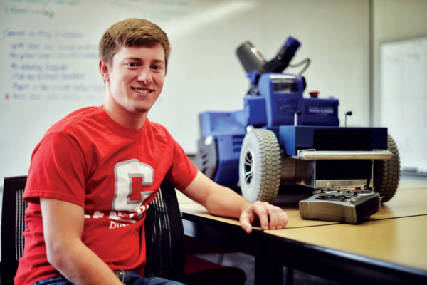 "Jacob Challen '18 says designing and building the robotic snow blower was ""one of the high points of my college career."""