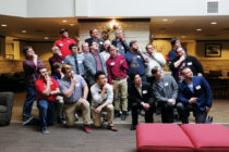 Attendees also gathered for a group photo, recreating a pose photographed during the fraternity's early days.