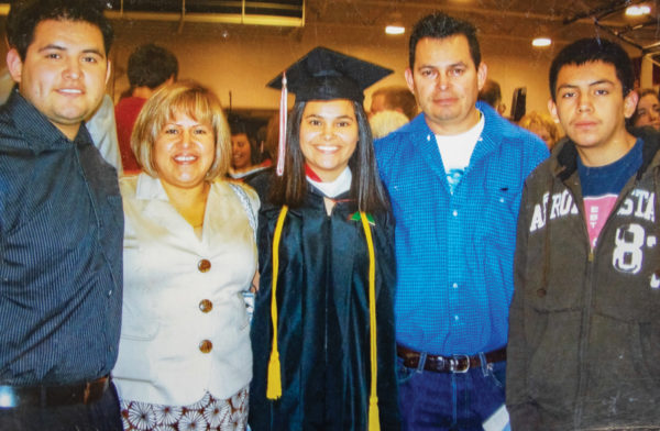 Carol Mendez '09, and family, at Commencement. Photo: Courtesy of Carol Mendez.