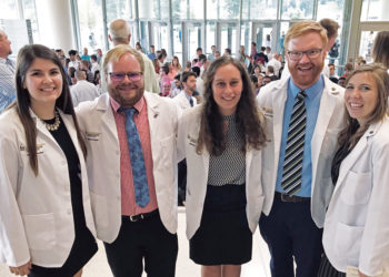 Five Central graduates celebrated together at the University of Iowa white coat ceremony earlier this year. Left to right: Ashley Radig '16, Sam Palmer '17, Abby Fyfe '18, Nick Lind '06 and Andie Arthofer '17.