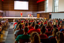Central College President Mark Putnam speaking to a class of incoming students.