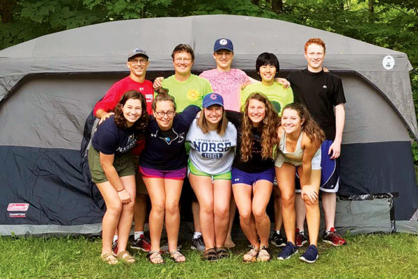 Former roommates Stephen Fyfe '87 and Brian Boersma '87 on a recent camping trip with Tim Boersma, high school exchange student Tsukasa Yano, Josh Boersma, Rebekah Fyfe, Abby Fyfe '18, Rachel Fyfe, Claire Boersma and Stephanie Boersma.