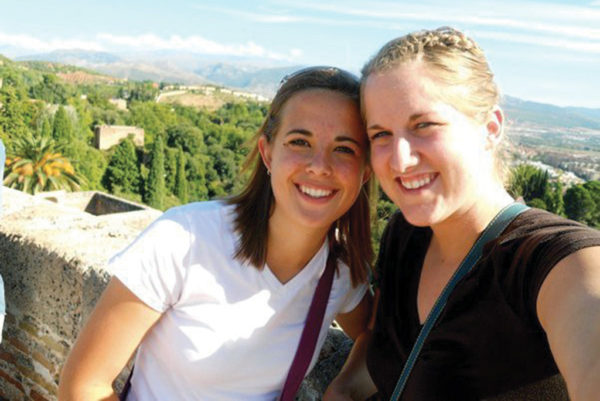 Bobst and Hopkins traveling together during their study abroad semester in Granáda, Spain.