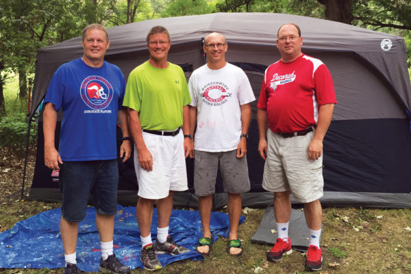 Pat Davis '86, Brian Boersma '87, Stephen Fyfe '87 and Ron Fadness '87