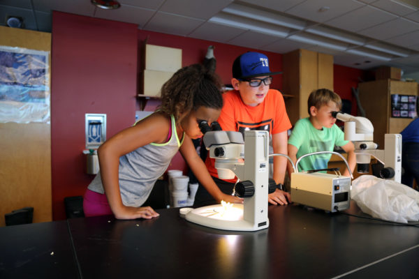 Elementary students at a science-focused camp at Central College.